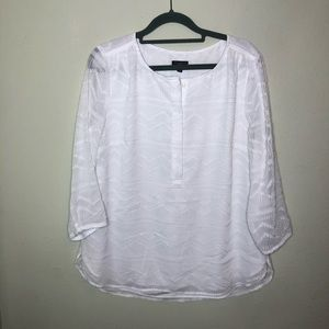 Talbots Textured White Blouse Large Petite